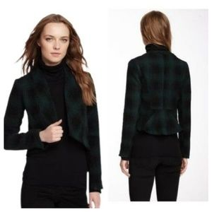BB Dakota Black & Green Plaid Jacket Blazer, sz M
